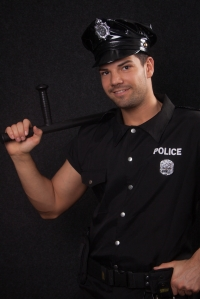 Smiling policeman shot in studio